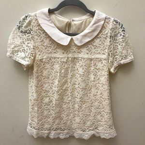 Lace white shirt with Peter Pan collar
